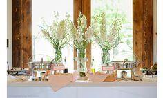 Tall white delphinium vintage wedding centerpieces