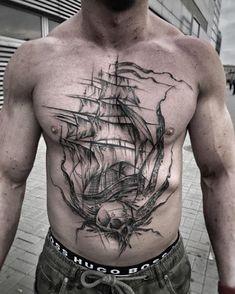 Sketched ship by Inez Janiak Love Tattoos, Tattoo You, Black Tattoos, Tattoos For Guys, Tatoos, Men Tattoos, Ship Sketch, Free Tattoo Designs, Geometric Sleeve