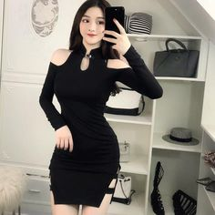 Gothic Chinese Style Cold Shoulder Bodycon Dress Bar Outfits, Night Club Outfits, Fashion Outfits, Vegas Outfits, Woman Outfits, 21st Birthday Outfits, Birthday Dresses, Dress Bar, Goth Dress
