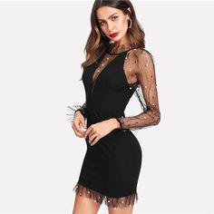COLROVIE Black Pearl Beading Vine Mesh Panel Dress Women Ruffle Round Neck  Long Sleeve Sexy Dress a2de64c63c82