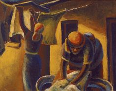 Exhibition Work / Art that inspires - Our Anniversary: Gallery I / Gerard Sekoto: Washerwomen - SOLD Gerard Sekoto, South Africa Art, South African Artists, Portraits, Art Database, Black Art, Art And Architecture, Female Art, Cool Art