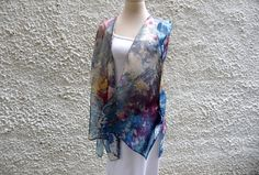 Blue cover up, Light jacket, Hand Painted Kimono, Floral silk jacket, Cover up, Bohemian chic, Evening wear,  Festival kimono