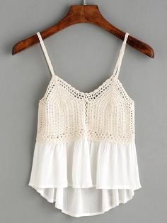 """Beige Crochet Insert Peplum Cami Top """"We are a crochet store, we 've been producing crochet Dress for about 5 years. Here crochet is quality guaranteed. Crochet Skirts, Crochet Fabric, Diy Crochet, Crochet Clothes, Crochet Top, Crochet Patterns, Crochet Summer Tops, Crochet Bikini Top, Crochet Blouse"""