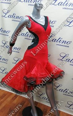 Red and black latin dress in pearl chiffon