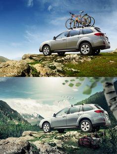 Before-After compilation #3 Cars ads by Denis Kornilov, via Behance