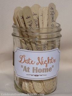 "30 Ideas for Date Nights ""At Home"" - pull an idea, put the kids in bed and spend some time together"
