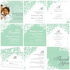 """Are you a Classic Bride? Check out our Wedding Stationery board for our green and white """"Sensational Seafoam Ceremony"""" design. Coordinating products include: save the dates, invitations, RSVPs, reception cards, enclosure cards, address labels, programs, place cards, menus and thank you cards."""
