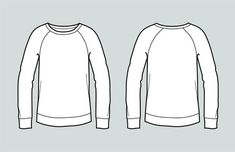 Sweater vector fashion flat sketch, Adobe Illustrator design, technical outline, flat drawing, digit T Shirt Design Template, Fashion Design Template, Fashion Templates, Print Templates, Illustration Techniques, Illustration Mode, Sketching Techniques, Design Illustrations, Flat Sketches
