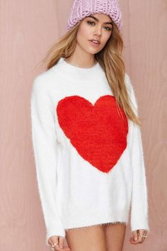 Nasty Gal Heart On Fuzzy Sweater | Shop What's New at Nasty Gal