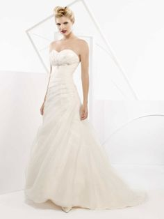 Sleeveless A-line floor-length wedding dress
