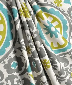 Premier Prints Suzani Summerland Natural #Fabric $7.40 per yard #grey #aqua #turquoise #green #blue