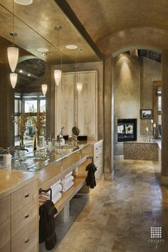 Contemporary Master Bathroom with stone tile floors, High ceiling, Undermount sink, Master bathroom, Paint 1, picture window