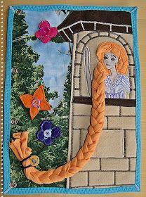verplüscht und zugenäht: Quietbook - Rapunzel braiding activity