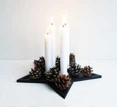 Candle holder  star shape  tray funcion  four candles