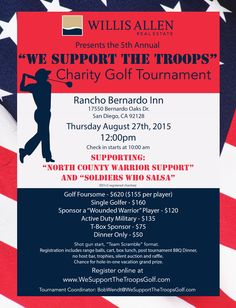 We are proud to be a presenting sponsor for the 5th annual We Support the Troops charity golf tournament at the premier Rancho Bernardo Inn. It's only ONE month away and there are many ways to get involved. Click the link below to find out how you can register or donate. Thank you for your support of this very special cause!