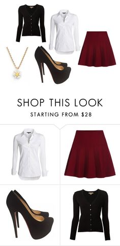 """""""school uniform"""" by bambi2014 ❤ liked on Polyvore featuring NIC+ZOE, Christian Louboutin, Michael Kors and Kate Spade"""