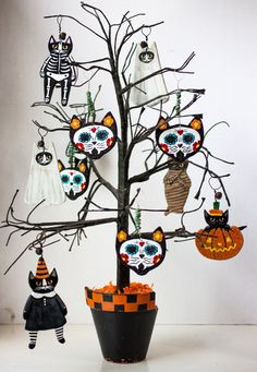 Day of the Dead Original Cat Clay Ornaments Folk Art for Halloween © Ryan Conners