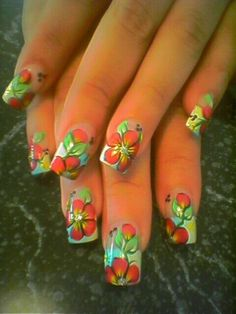 Cute and colorful tropical nails art ideas 38 – My CMS Tropical Nail Designs, Tropical Nail Art, Cool Nail Designs, Christmas Manicure, Christmas Nail Art, Gold Nails, My Nails, Hawaiian Nail Art, Hawaiian Theme