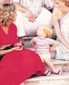 From L to R: HM Queen Sofia of Spain, HRH Prince Henry, HRH Princess Diana of Wales. Prince Henry looking up to Queen Sofia.