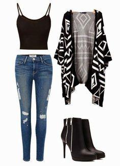 SOMMER: Høje sorte bukser + sort top + sort hvid kort smid-på-dut