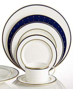 "kate spade new york ""Library Lane"" Navy Dinnerware Collection - kate spade new york - Dining & Entertaining - Macy's"