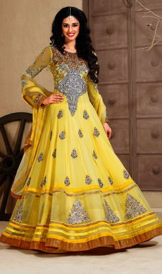 Ethnic Embroidered Tiered Long Anarkali Suit Price: Usa Dollar $145, British UK Pound £86, Euro107, Canada CA$158 , Indian Rs7830