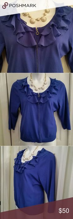 Ruffled Blue Zip Sweater Feminine ruffled zip up cardigan sweater from Cable & Gauge Size XL, fits like 14W 24 Inches long 21 Inches across armpit to armpit lying flat Lots of stretch  62% viscous 38% nylon  Gold tone zipper up front Only worn once  Stunning Cable & Gauge Sweaters