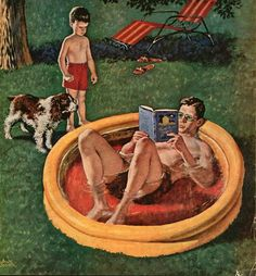 "http://iamachild.files.wordpress.com/2012/04/wading-pool-dad-stealing-kid-and-dogs-pool.jpg ""Wading Pool ~ Dad Stealing Kid & Dog's Pool"" by Amos Sewell {1901~1983; American}"