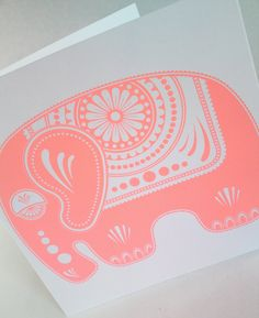 Sugar Elephant Screen Printed Card