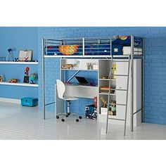 Fesselnd Buy Metal High Sleeper Bed Frame With Wardrobe And Desk   White At Argos.co