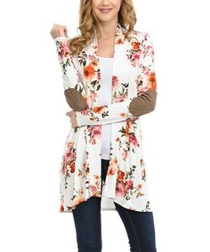 Love this Ivory & Orange Floral Elbow-Patch Open Cardigan - Plus on #zulily! #zulilyfinds
