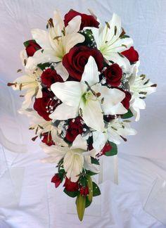 Teardrop Wedding Bouquet, Ivory lillies, Burgundy Roses, Pearl Loops in Home, Furniture & DIY, Wedding Supplies, Flowers, Petals & Garlands | eBay