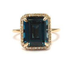 Emerald Cut London Blue Topaz Ring Pave Diamond Halo 14K Rose Gold 8x10mm - 6.75 / 14K Rose Gold