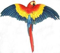 """TROPICAL DECOR - TROPICAL BIRDS -    Brightly Painted Parrot Wall Hanging - Metal Home Decor - Haitian Steel Drum Art - 23"""" x 26""""    - Found at www.TropicDecor.com"""