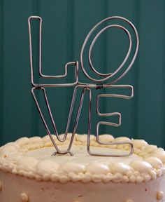 Unique Stacked Love Wedding Cake Topper by deliziare on Etsy, $40.00