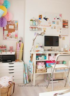 craft room full of ikea furniture - liatorp console table as desk & alex drawers