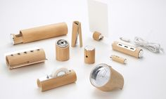 Bamboo stationery, the brainchild of Yu Jian, a designer - 10 separate items including a stapler, making a very unique collection and eco friendly too!