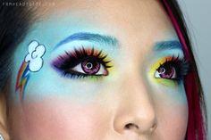 "From Head To Toe: My Little Pony ""Rainbow Dash"" Makeup Tutorial Pony Makeup, Unicorn Makeup, Eye Makeup, Makeup Brushes, My Little Pony Birthday, My Little Pony Party, Rainbow Dash Kostüm, Rainbow Face, Rainbow Makeup"