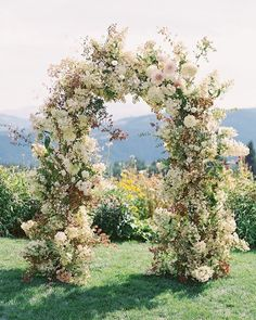 "The most stunning floral arch for your perfect day. Who wouldn't say ""I do"" beside this magnificent flower arrangement? Rever Mariage, Floral Wedding, Wedding Flowers, Wedding Rustic, Wedding Ceremony Backdrop, Wedding Arches, Wedding Backdrops, Wedding Ceremonies, Wedding Reception"