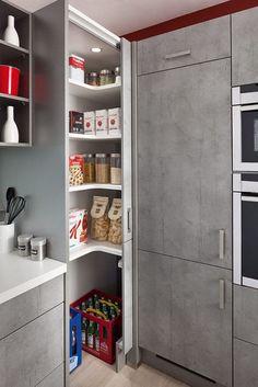 23 Kitchen Corner Cabinet Ideas for 2019 Kitchen Pantry Design, Kitchen Corner, Modern Kitchen Design, Kitchen Interior, Kitchen Storage, Kitchen Ideas, Corner Pantry, Diy Cabinet Doors, Diy Cupboards