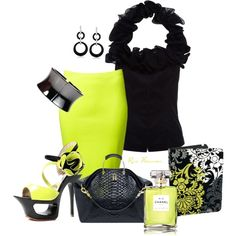 ~ ❤ ~  Black shirt, pencil skirt and platform sandals