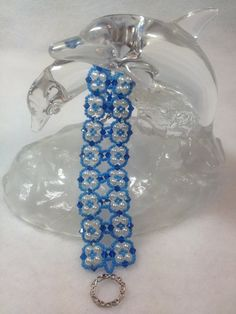 Blue and White Beadwoven Bracelet by BeadingBeeCreations on Etsy, $28.50