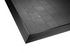 Smooth edged black exhibition flooring