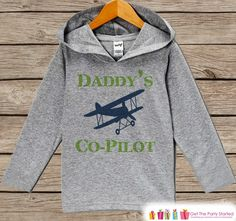 Kids Hoodie - Airplane Pullover - Daddy's Co-Pilot Outfit - Father's Day Gift Idea - Grey Toddler Hoodie - Boys Hoodie - Airplane Shirt Top