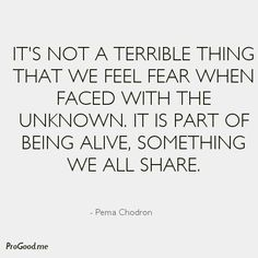 - view source at http://progood.me/1579/pema-chodron-its-not-a-terrible-thing-that-we-feel-fear. To see more, follow us on Pinterest.com/progood or visit us at http://ProGood.me. #BeautifulQuotes, #Inspiration, #Inspirational, #InspirationalQuotes, #Inspiring, #InspiringQuotes, #Life, #LifeQuotes, #Motivation, #Motivational, #MotivationalQuotes, #PemaChodron, #PictureOfTheDay, #PictureQuoteOfTheDay, #QuoteOfTheDay, #Quotes, #Wisdom, #WordsOfWisdom