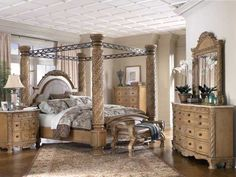 The Four Poster Wooden Bed With Metal Canopy