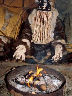 Native Shaman Performing by Bonfire, Kamchatka, Russia Fotoprint van Daisy Gilardini bij AllPosters.nl