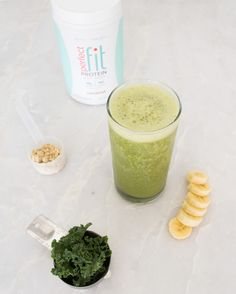 YOGA GLOW SMOOTHIE (hydrating/post-stretch)  1 cup coconut water 1/4 cup kale 1/2 cup frozen mango 1/2 frozen banana 1/2 scoop coconut Perfect Fit Protein 1 slice fresh ginger