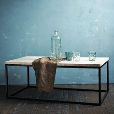 Mango wood + steel base.  Box Frame Coffee Table $349