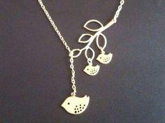 Bird Jewelry Family Bird Necklace Gold Branch by LeCharmeJewelry, $23.95